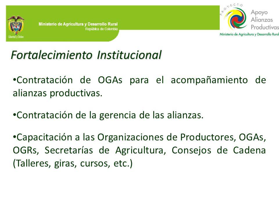 Ministerio de Agricultura y Desarrollo Rural República de Colombia Fortalecimiento Institucional Contratación de OGAs para el acompañamiento de alianz