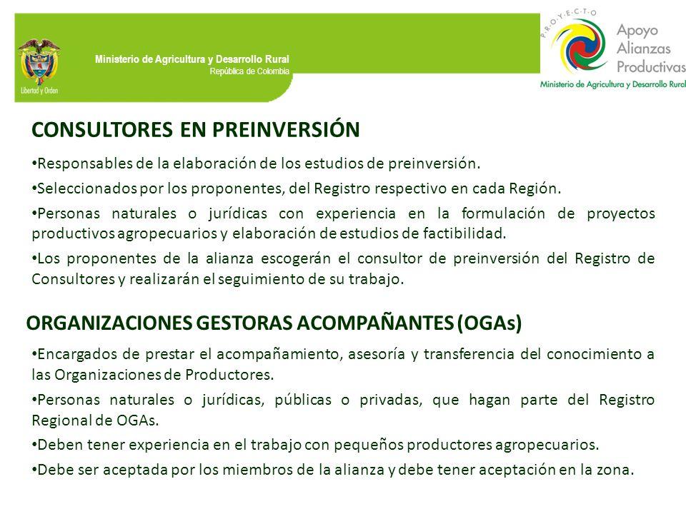 Ministerio de Agricultura y Desarrollo Rural República de Colombia CONSULTORES EN PREINVERSIÓN Responsables de la elaboración de los estudios de prein