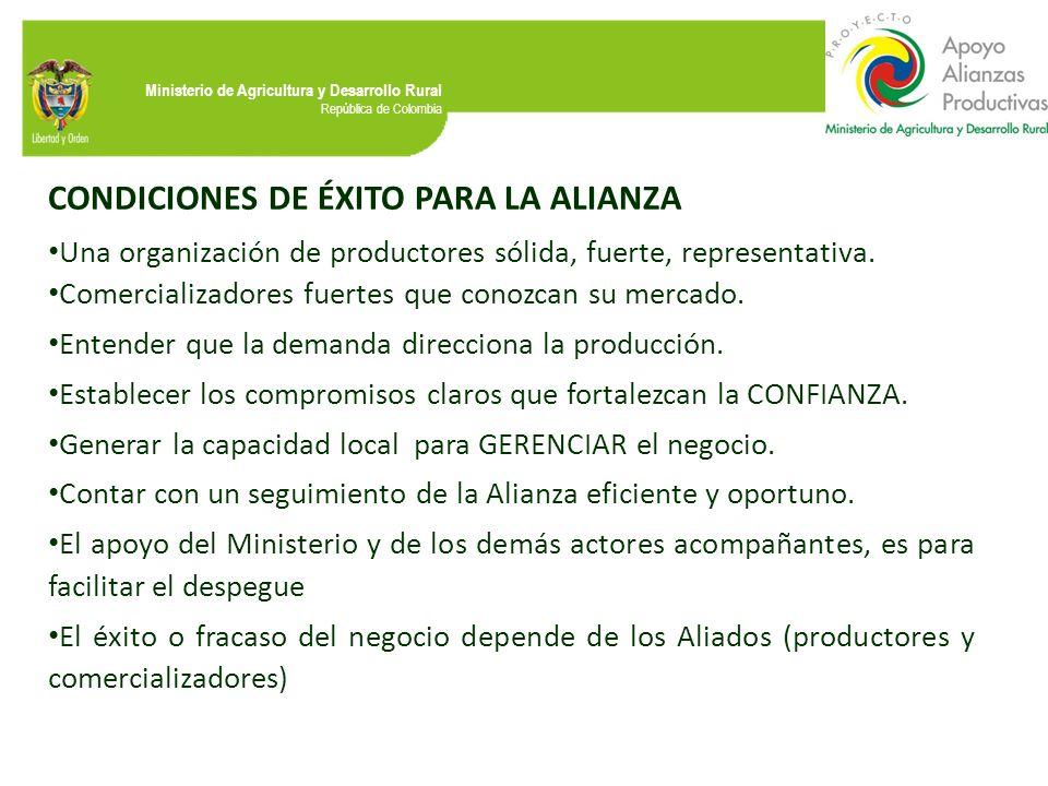 Ministerio de Agricultura y Desarrollo Rural República de Colombia CONDICIONES DE ÉXITO PARA LA ALIANZA Una organización de productores sólida, fuerte