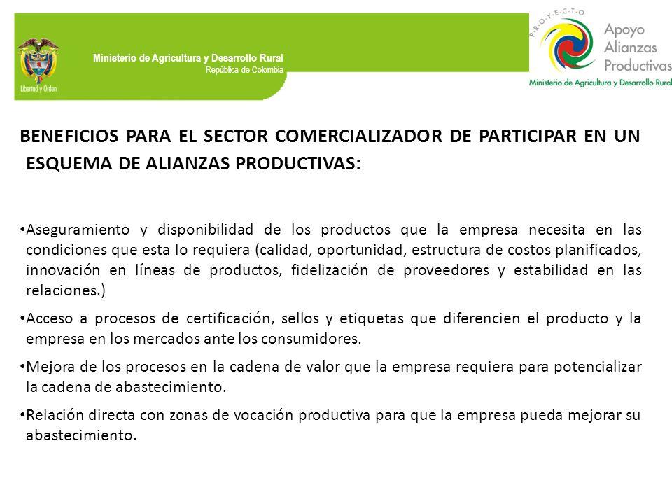 Ministerio de Agricultura y Desarrollo Rural República de Colombia BENEFICIOS PARA EL SECTOR COMERCIALIZADOR DE PARTICIPAR EN UN ESQUEMA DE ALIANZAS P