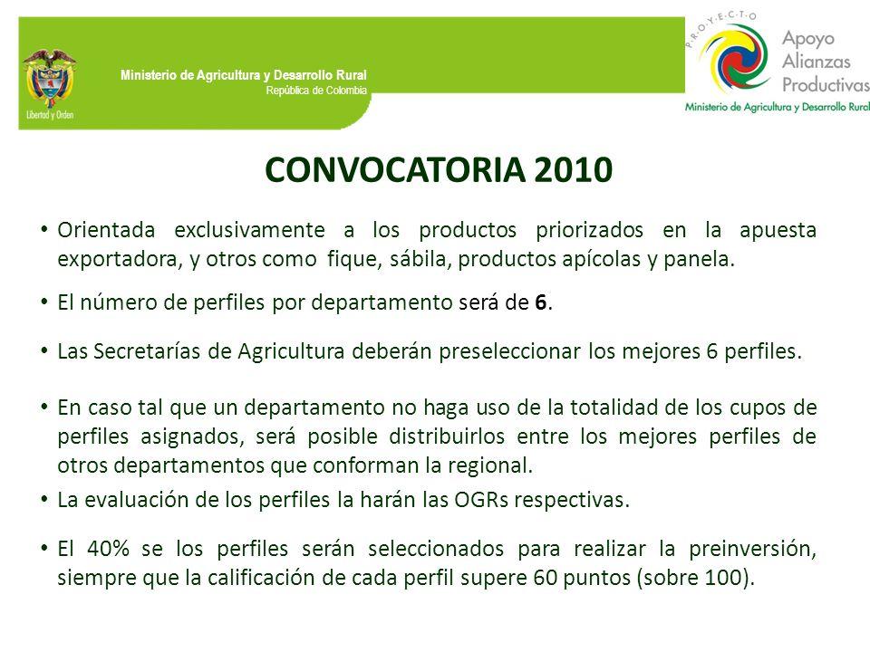 Ministerio de Agricultura y Desarrollo Rural República de Colombia CONVOCATORIA 2010 Orientada exclusivamente a los productos priorizados en la apuest