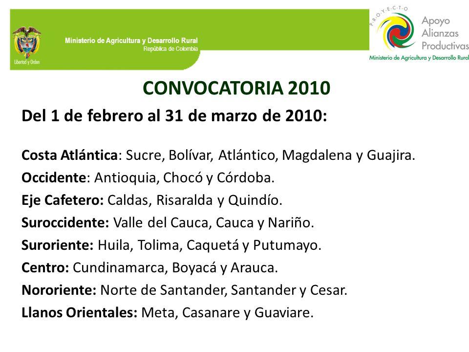 Ministerio de Agricultura y Desarrollo Rural República de Colombia CONVOCATORIA 2010 Del 1 de febrero al 31 de marzo de 2010: Costa Atlántica: Sucre,