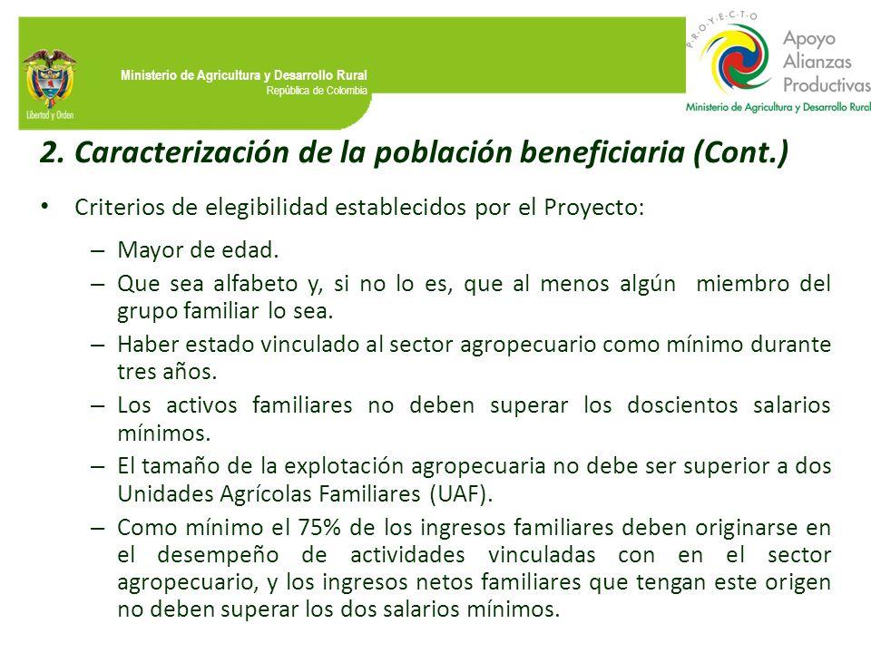 Ministerio de Agricultura y Desarrollo Rural República de Colombia 2.Caracterización de la población beneficiaria (Cont.) Criterios de elegibilidad es