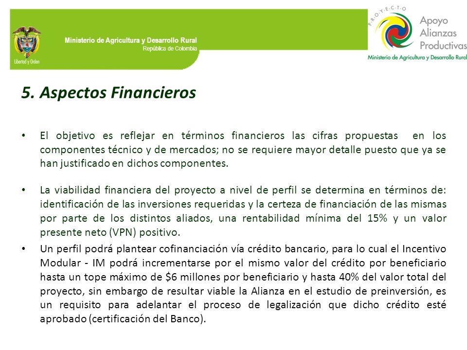 Ministerio de Agricultura y Desarrollo Rural República de Colombia 5.Aspectos Financieros El objetivo es reflejar en términos financieros las cifras p