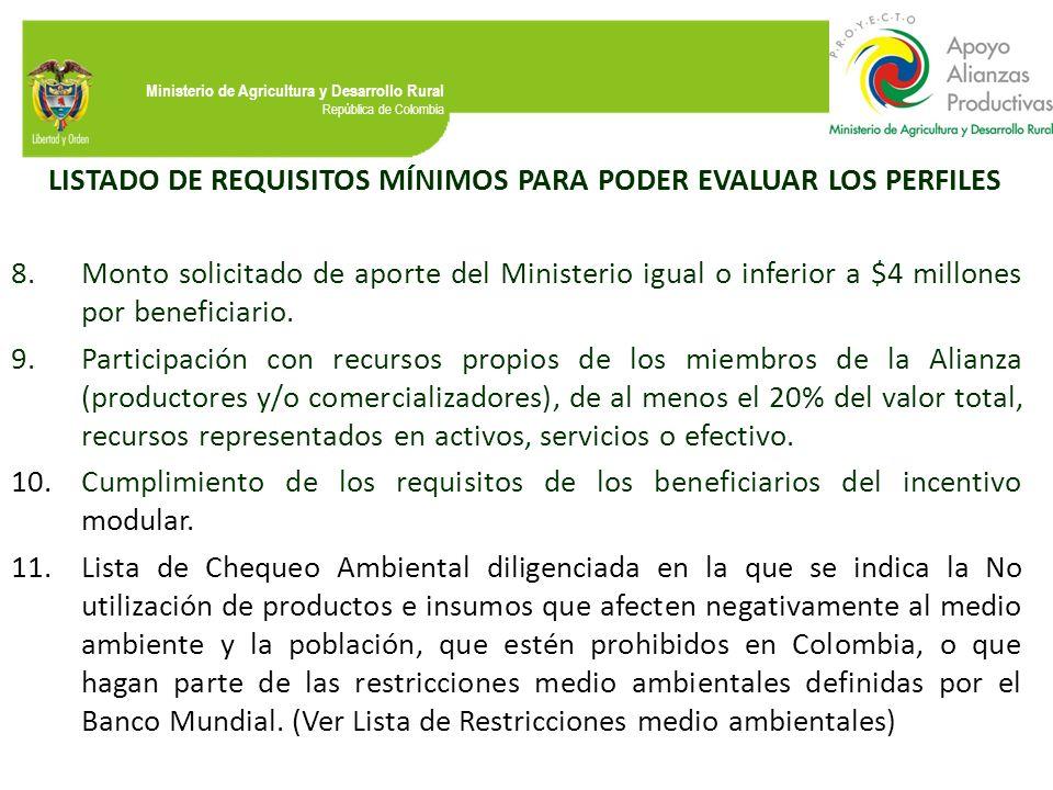 Ministerio de Agricultura y Desarrollo Rural República de Colombia LISTADO DE REQUISITOS MÍNIMOS PARA PODER EVALUAR LOS PERFILES 8.Monto solicitado de