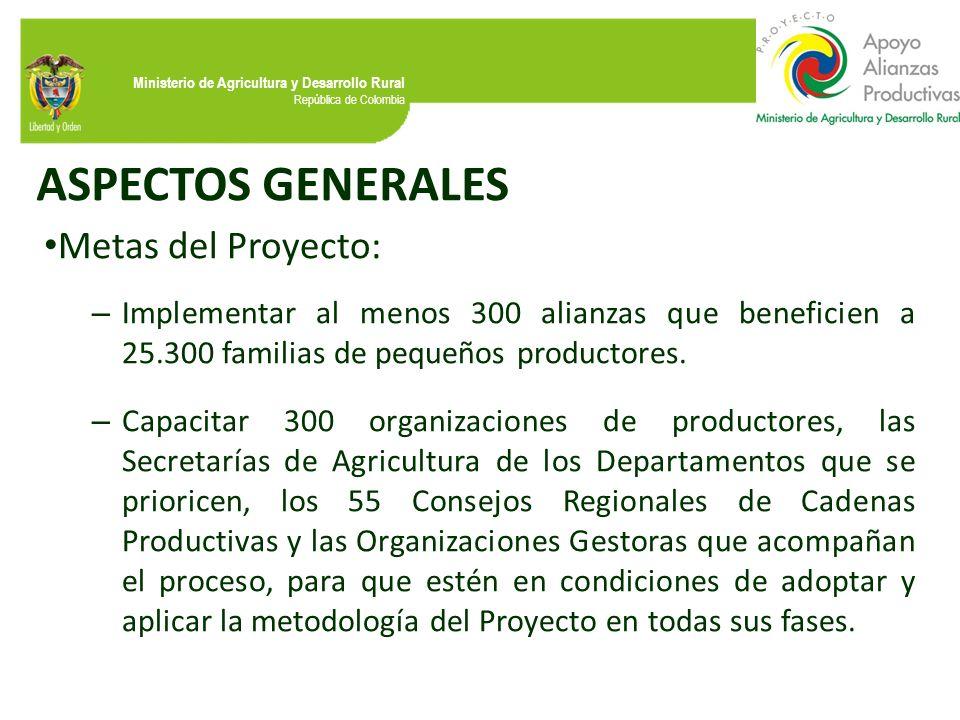 Ministerio de Agricultura y Desarrollo Rural República de Colombia ASPECTOS GENERALES Metas del Proyecto: – Implementar al menos 300 alianzas que bene