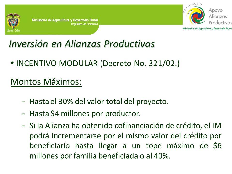 Ministerio de Agricultura y Desarrollo Rural República de Colombia Inversión en Alianzas Productivas INCENTIVO MODULAR (Decreto No. 321/02.) Montos Má