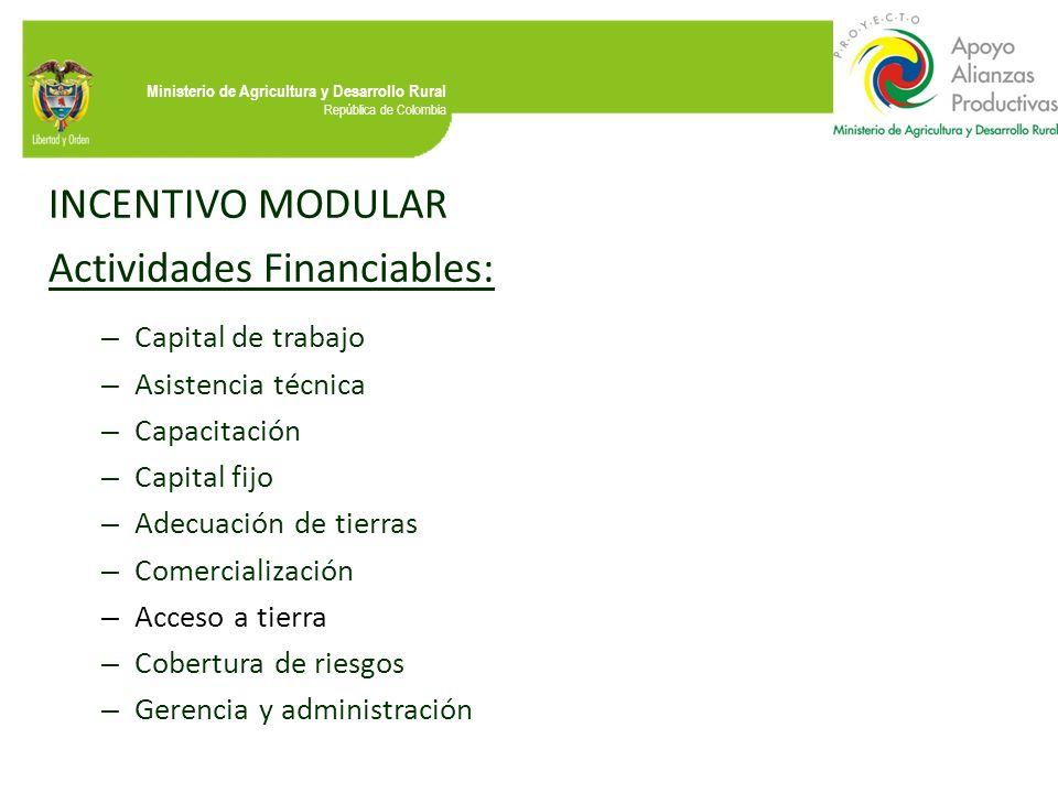 Ministerio de Agricultura y Desarrollo Rural República de Colombia INCENTIVO MODULAR Actividades Financiables: – Capital de trabajo – Asistencia técni