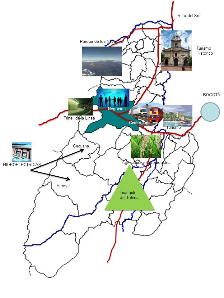 HIDROELECTRICAS Amoya Cucuana Triangulo del Tolima Turismo Negocios Túnel de la Línea Centro logistico Parque de los Nevados Agricultura y Agroindustr