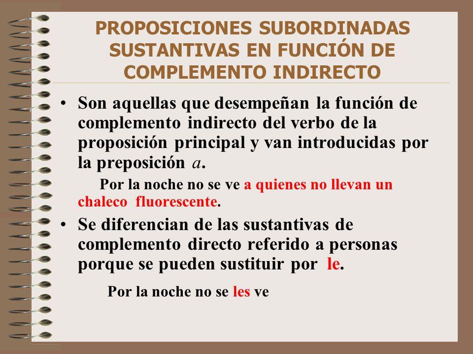 PROPOSICIONES SUBORDINADAS SUSTANTIVAS EN FUNCIÓN DE COMPLEMENTO INDIRECTO Son aquellas que desempeñan la función de complemento indirecto del verbo d