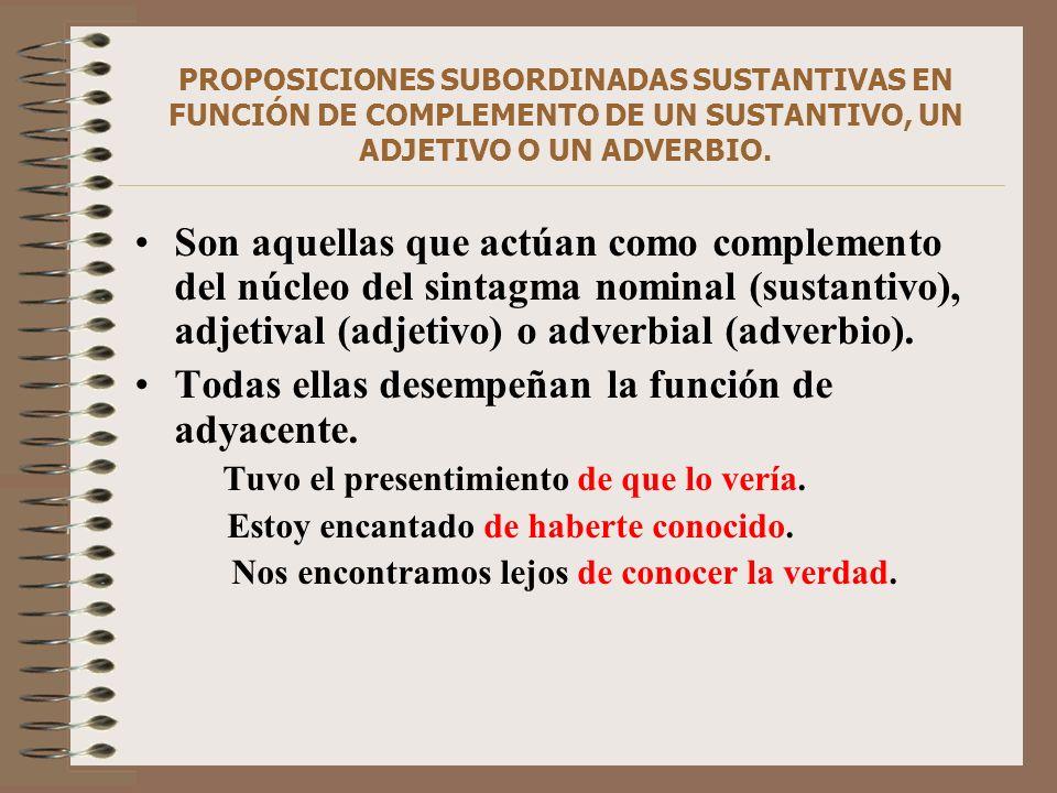 PROPOSICIONES SUBORDINADAS SUSTANTIVAS EN FUNCIÓN DE COMPLEMENTO DE UN SUSTANTIVO, UN ADJETIVO O UN ADVERBIO. Son aquellas que actúan como complemento