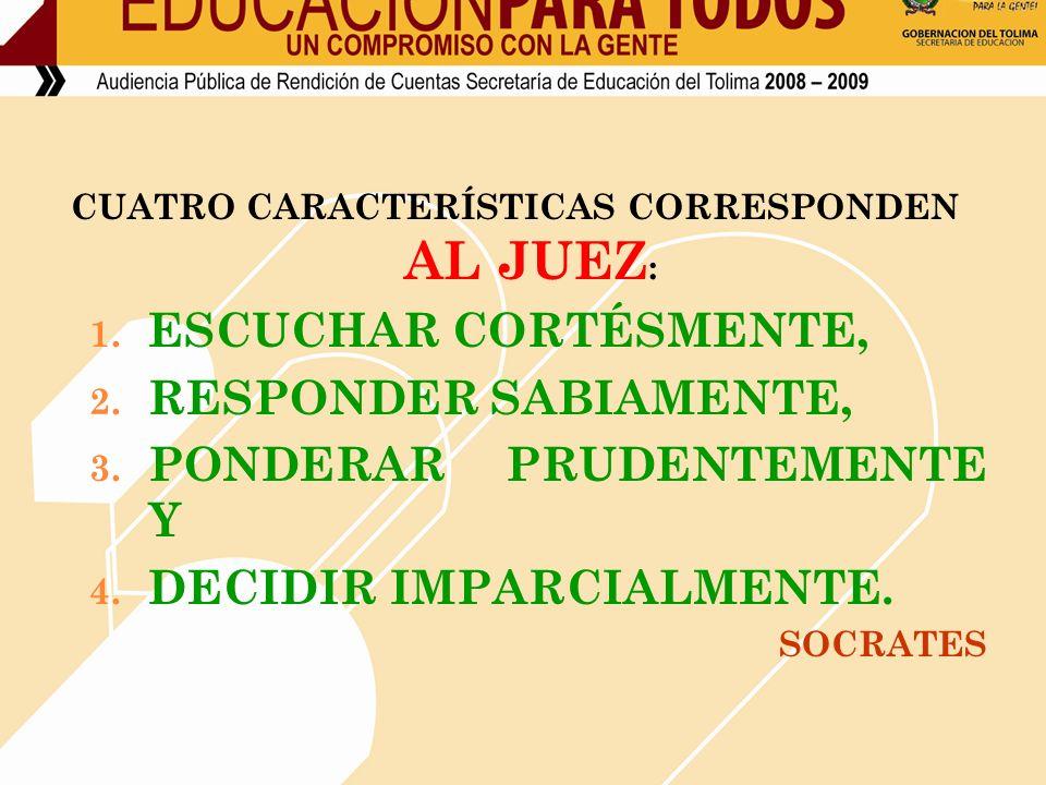 CUATRO CARACTERÍSTICAS CORRESPONDEN AL JUEZ : 1. ESCUCHAR CORTÉSMENTE, 2.
