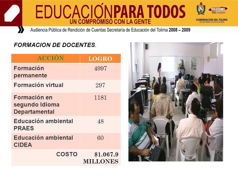 FORMACION DE DOCENTES.