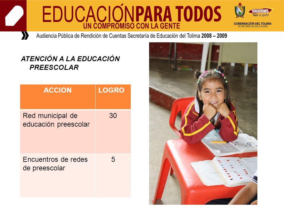 ATENCIÓN A LA EDUCACIÓN PREESCOLAR ACCIONLOGRO Red municipal de educación preescolar 30 Encuentros de redes de preescolar 5