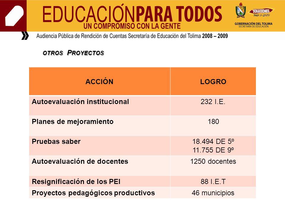 OTROS P ROYECTOS OTROS P ROYECTOS ACCIÓNLOGRO Autoevaluación institucional232 I.E.