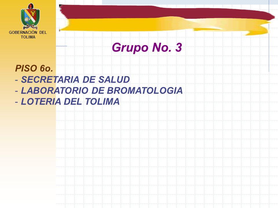 GOBERNACIÓN DEL TOLIMA PISO 6o. - SECRETARIA DE SALUD - LABORATORIO DE BROMATOLOGIA - LOTERIA DEL TOLIMA Grupo No. 3