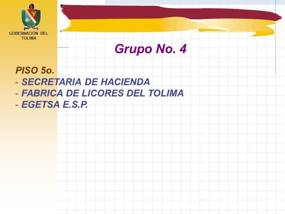 GOBERNACIÓN DEL TOLIMA PISO 5o. - SECRETARIA DE HACIENDA - FABRICA DE LICORES DEL TOLIMA - EGETSA E.S.P. Grupo No. 4