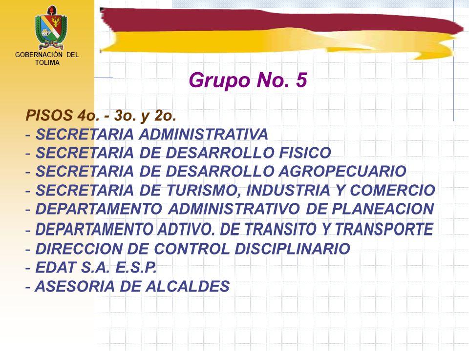 GOBERNACIÓN DEL TOLIMA PISOS 4o. - 3o. y 2o. - SECRETARIA ADMINISTRATIVA - SECRETARIA DE DESARROLLO FISICO - SECRETARIA DE DESARROLLO AGROPECUARIO - S
