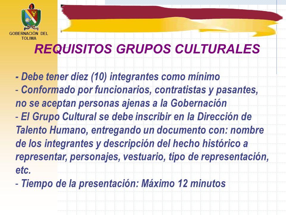 GOBERNACIÓN DEL TOLIMA - Debe tener diez (10) integrantes como mínimo - Conformado por funcionarios, contratistas y pasantes, no se aceptan personas a