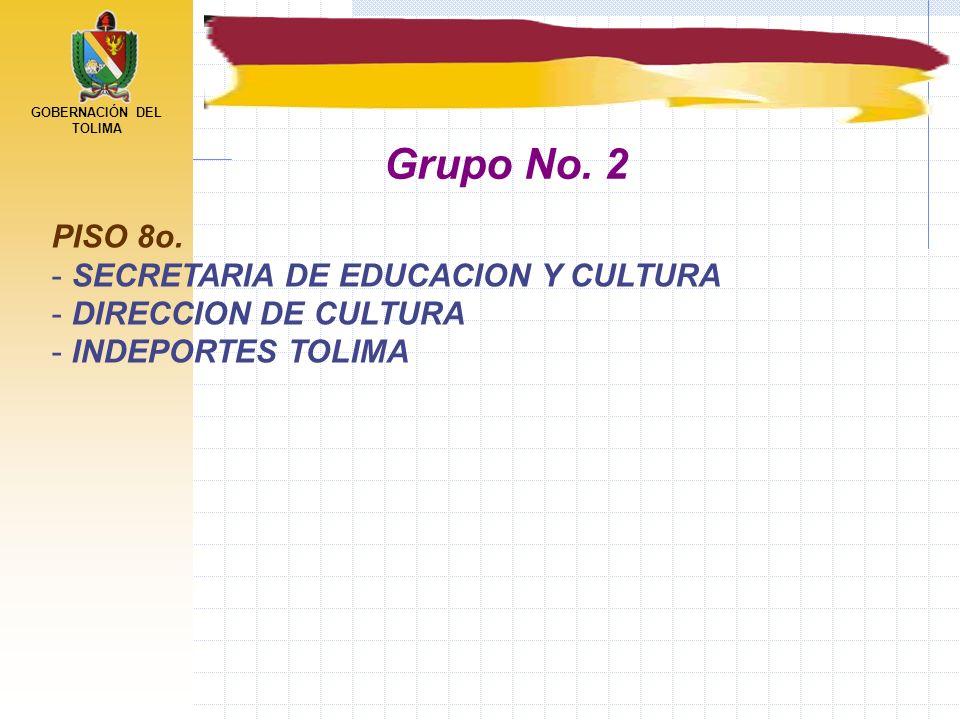 GOBERNACIÓN DEL TOLIMA PISO 8o. - SECRETARIA DE EDUCACION Y CULTURA - DIRECCION DE CULTURA - INDEPORTES TOLIMA Grupo No. 2