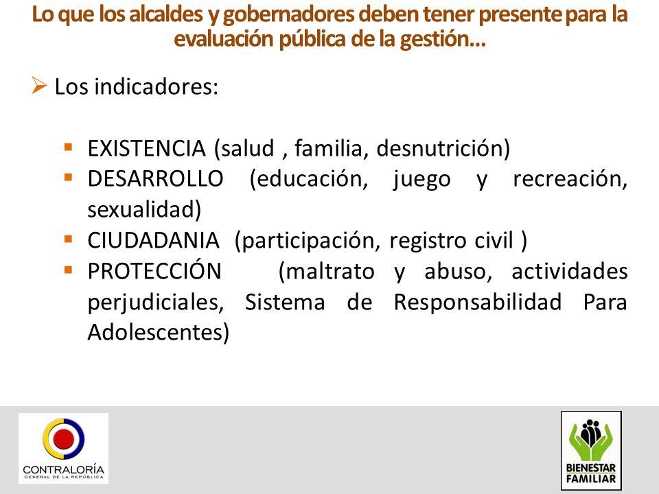 Los indicadores: EXISTENCIA (salud, familia, desnutrición) DESARROLLO (educación, juego y recreación, sexualidad) CIUDADANIA (participación, registro