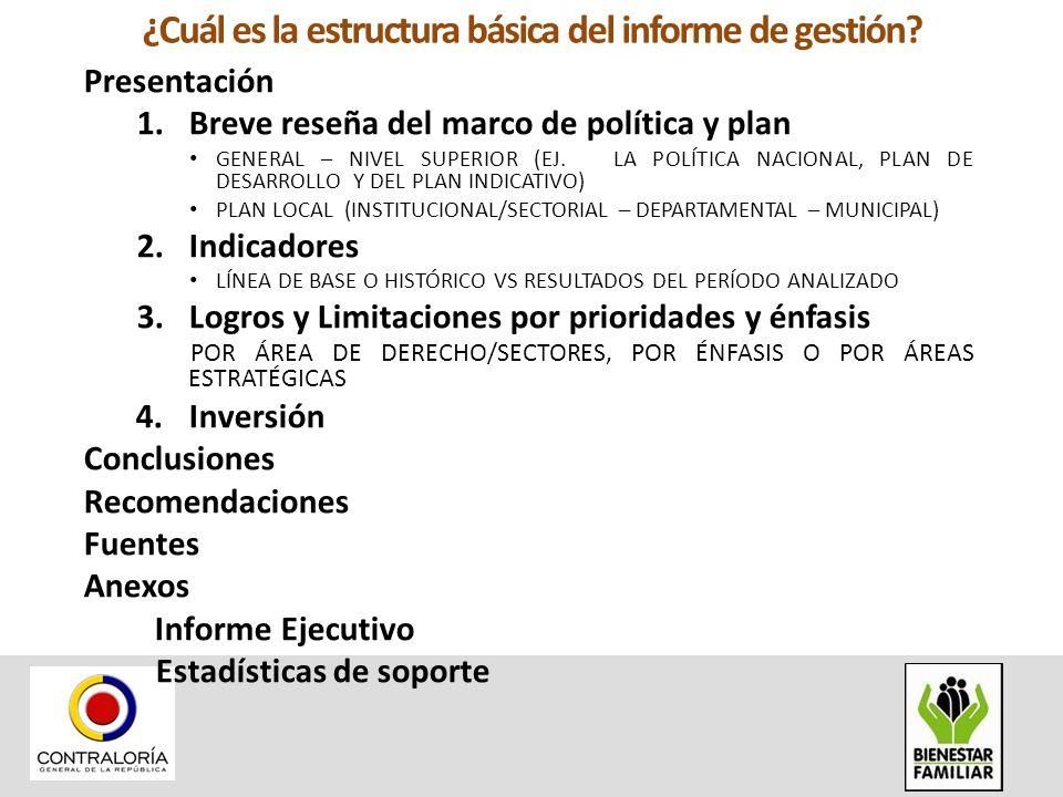 ¿Cuál es la estructura básica del informe de gestión? Presentación 1.Breve reseña del marco de política y plan GENERAL – NIVEL SUPERIOR (EJ. LA POLÍTI