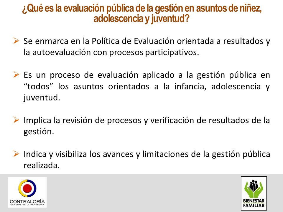 Se enmarca en la Política de Evaluación orientada a resultados y la autoevaluación con procesos participativos. Es un proceso de evaluación aplicado a