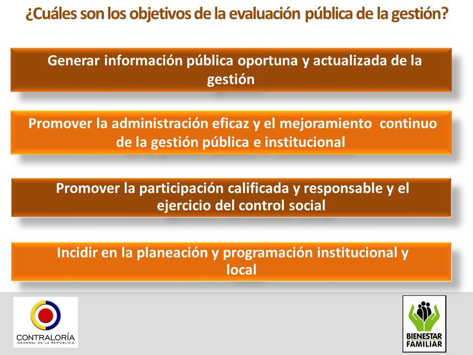¿Cuáles son los objetivos de la evaluación pública de la gestión? Generar información pública oportuna y actualizada de la gestión Promover la adminis