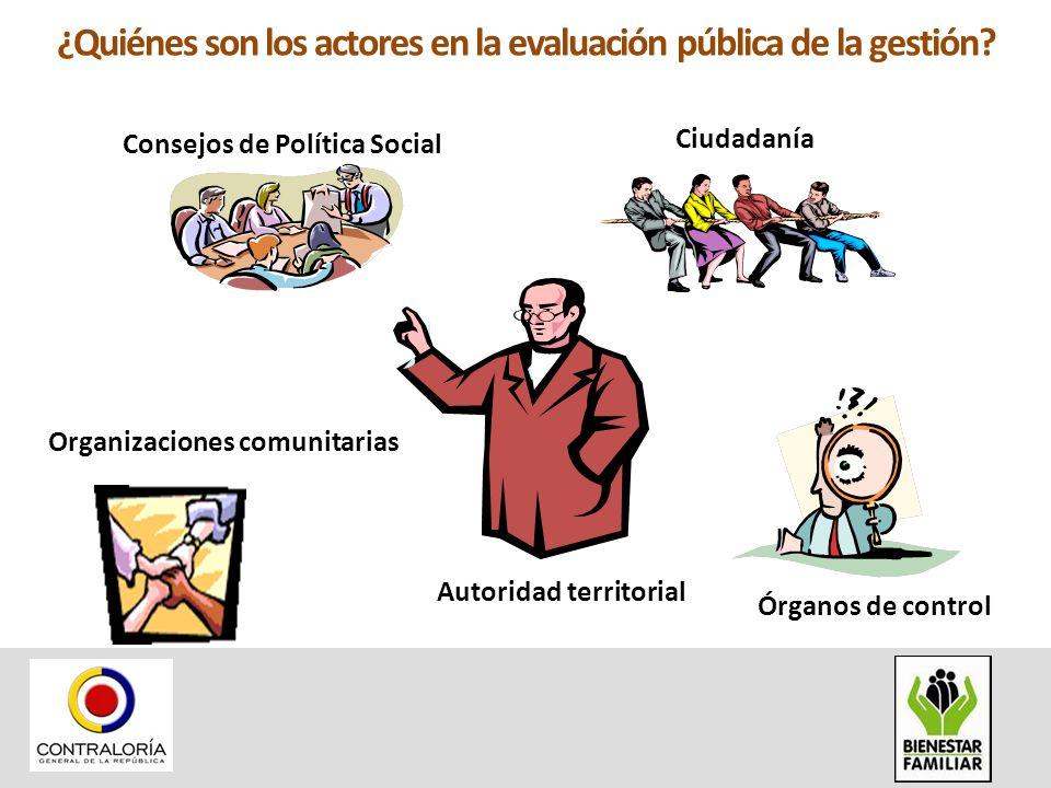 ¿Quiénes son los actores en la evaluación pública de la gestión? Consejos de Política Social Ciudadanía Organizaciones comunitarias Autoridad territor