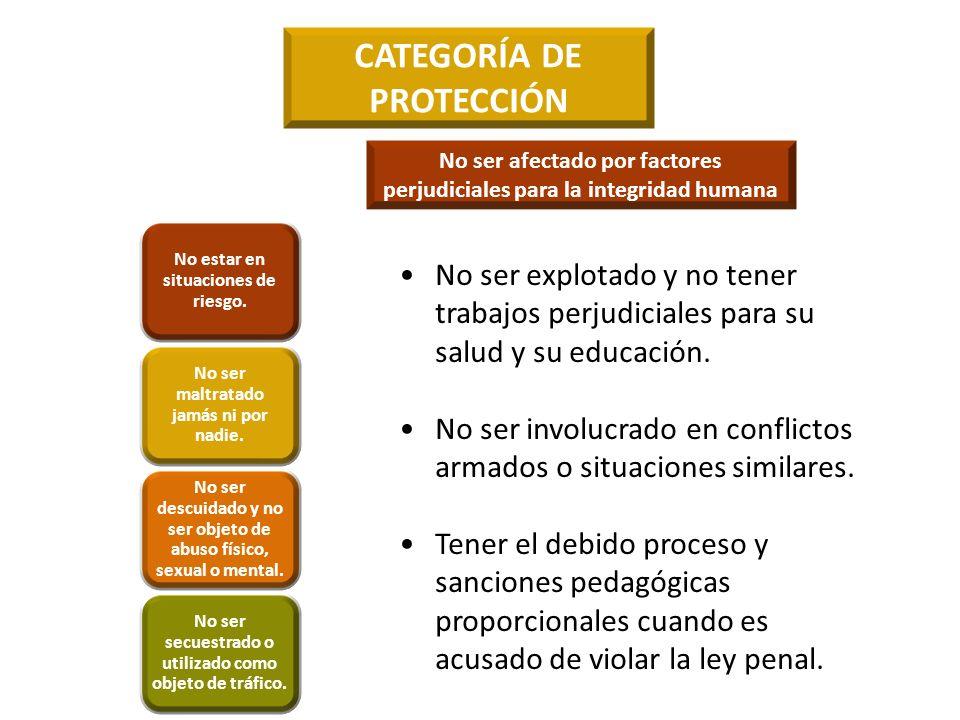CATEGORÍA DE PROTECCIÓN No ser explotado y no tener trabajos perjudiciales para su salud y su educación. No ser involucrado en conflictos armados o si