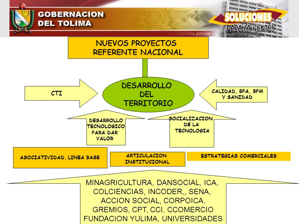 MINAGRICULTURA, DANSOCIAL, ICA, COLCIENCIAS, INCODER,, SENA, ACCION SOCIAL, CORPOICA, GREMIOS, CPT, CCI, CCOMERCIO FUNDACION YULIMA, UNIVERSIDADES ASO