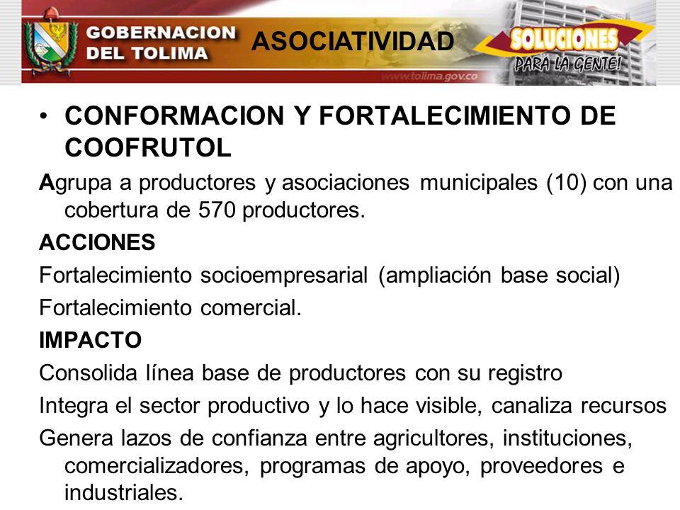 CONFORMACION Y FORTALECIMIENTO DE COOFRUTOL Agrupa a productores y asociaciones municipales (10) con una cobertura de 570 productores. ACCIONES Fortal