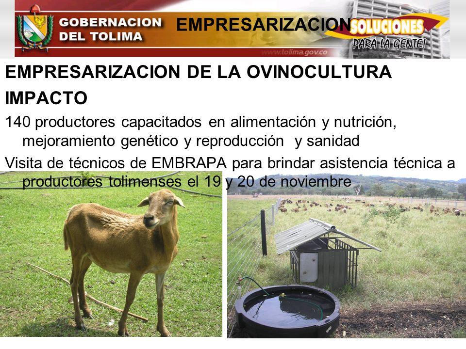 EMPRESARIZACION EMPRESARIZACION DE LA OVINOCULTURA IMPACTO 140 productores capacitados en alimentación y nutrición, mejoramiento genético y reproducci
