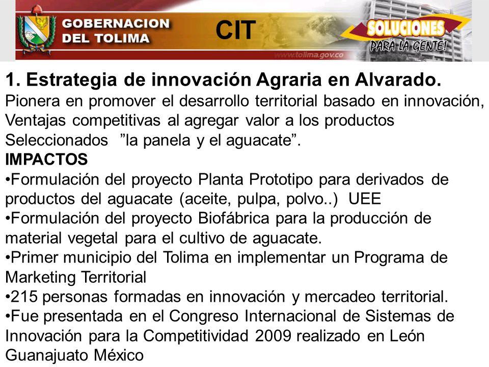 CIT 1. Estrategia de innovación Agraria en Alvarado. Pionera en promover el desarrollo territorial basado en innovación, Ventajas competitivas al agre