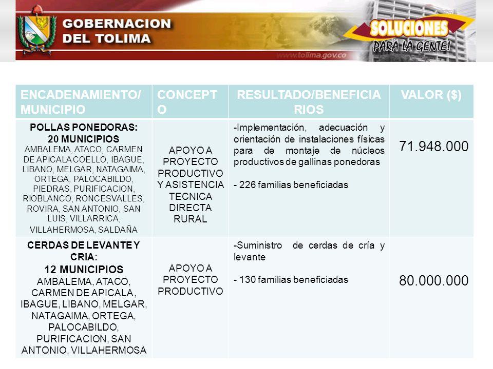 ENCADENAMIENTO/ MUNICIPIO CONCEPT O RESULTADO/BENEFICIA RIOS VALOR ($) POLLAS PONEDORAS: 20 MUNICIPIOS AMBALEMA, ATACO, CARMEN DE APICALA COELLO, IBAG