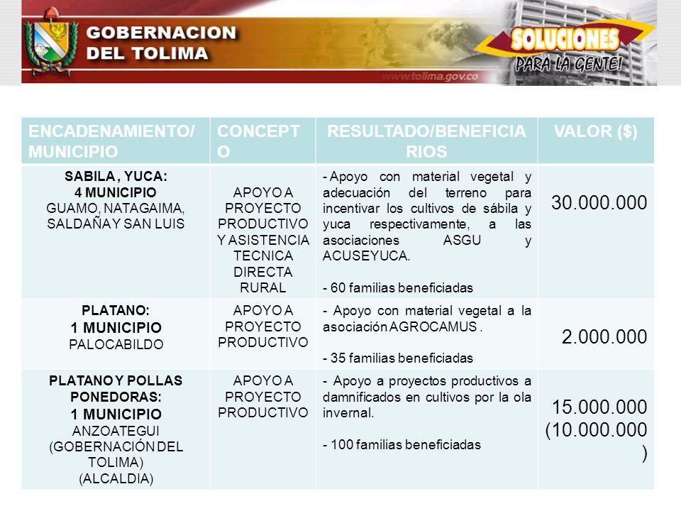 ENCADENAMIENTO/ MUNICIPIO CONCEPT O RESULTADO/BENEFICIA RIOS VALOR ($) SABILA, YUCA: 4 MUNICIPIO GUAMO, NATAGAIMA, SALDAÑA Y SAN LUIS APOYO A PROYECTO