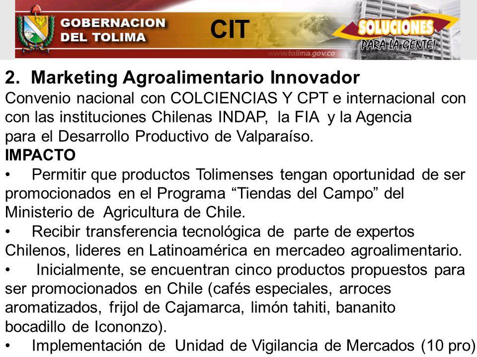 ENCADENAMIENTO/ MUNICIPIO CONCEPT O RESULTADO/BENEFICIA RIOS VALOR ($) AGUACATE: 1 MUNICIPIO CASABIANCA (GOBERNACION DEL TOLIMA) (ALCALDIA) (ACCION SOCIAL) APOYO A PROYECTO PRODUCTIVO Y ASISTENCIA TECNICA DIRECTA RURAL - Asistencia técnica Y apoyo al proyecto productivo de aguacate a través de la puesta en marcha de un vivero para la producción de semilla certificada por el ICA.