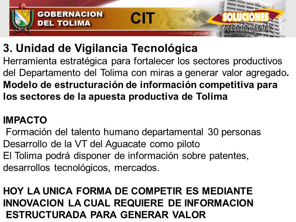 CIT 3. Unidad de Vigilancia Tecnológica Herramienta estratégica para fortalecer los sectores productivos del Departamento del Tolima con miras a gener