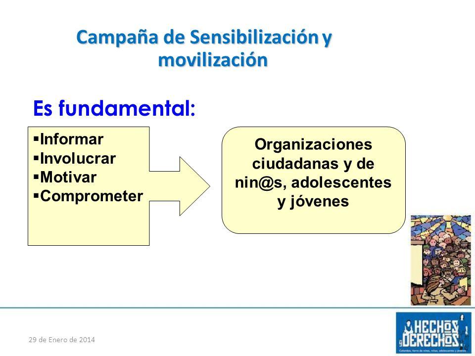 Campaña de Sensibilización y movilización Es fundamental: 29 de Enero de 201417 Informar Involucrar Motivar Comprometer Organizaciones ciudadanas y de