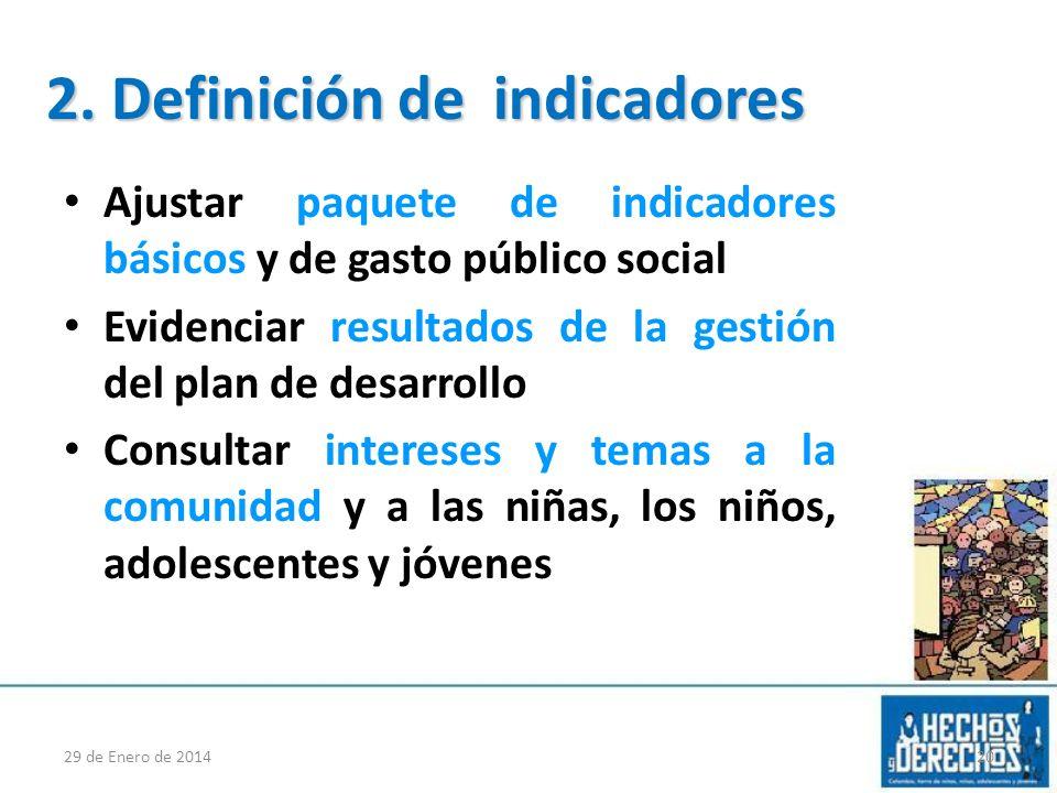 Ajustar paquete de indicadores básicos y de gasto público social Evidenciar resultados de la gestión del plan de desarrollo Consultar intereses y tema