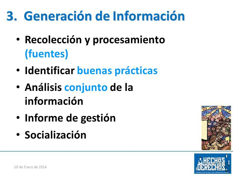 Recolección y procesamiento (fuentes) Identificar buenas prácticas Análisis conjunto de la información Informe de gestión Socialización 29 de Enero de