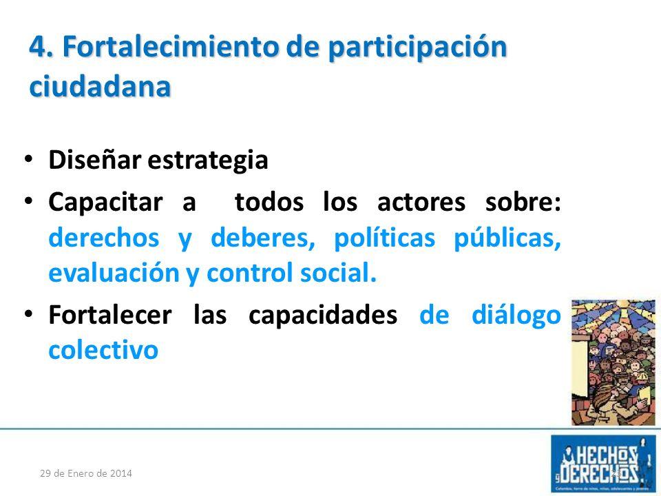 Diseñar estrategia Capacitar a todos los actores sobre: derechos y deberes, políticas públicas, evaluación y control social. Fortalecer las capacidade