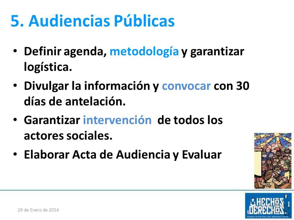 5. Audiencias Públicas Definir agenda, metodología y garantizar logística. Divulgar la información y convocar con 30 días de antelación. Garantizar in