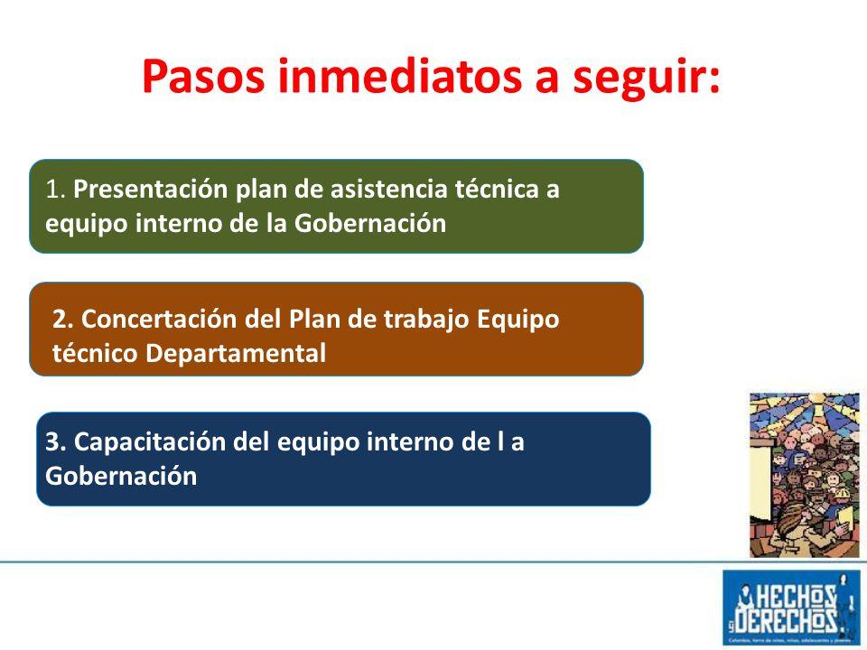 Pasos inmediatos a seguir: 1. Presentación plan de asistencia técnica a equipo interno de la Gobernación 2. Concertación del Plan de trabajo Equipo té