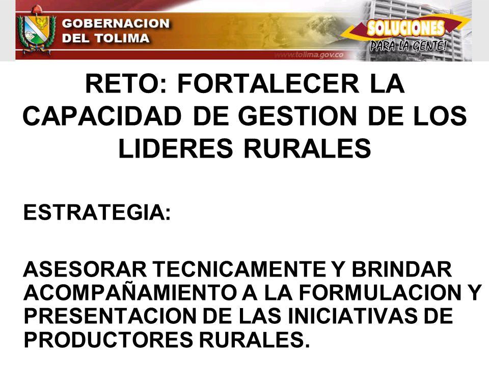 RETO: FORTALECER LA CAPACIDAD DE GESTION DE LOS LIDERES RURALES ESTRATEGIA: ASESORAR TECNICAMENTE Y BRINDAR ACOMPAÑAMIENTO A LA FORMULACION Y PRESENTA
