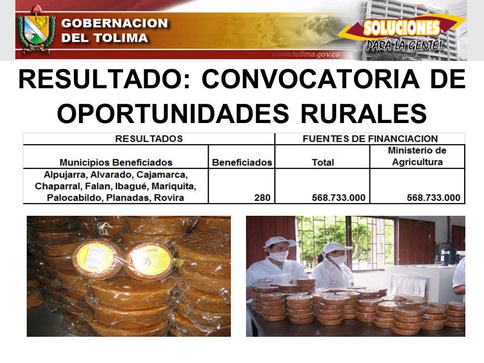 RESULTADO: CONVOCATORIA DE OPORTUNIDADES RURALES