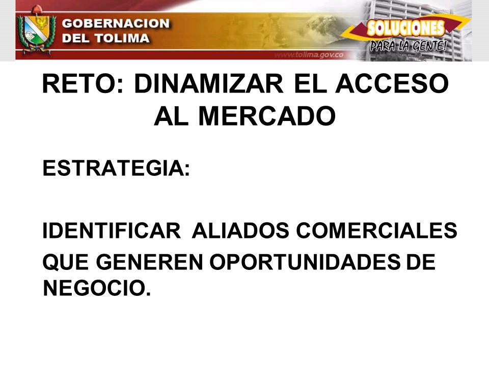 RETO: DINAMIZAR EL ACCESO AL MERCADO ESTRATEGIA: IDENTIFICAR ALIADOS COMERCIALES QUE GENEREN OPORTUNIDADES DE NEGOCIO.