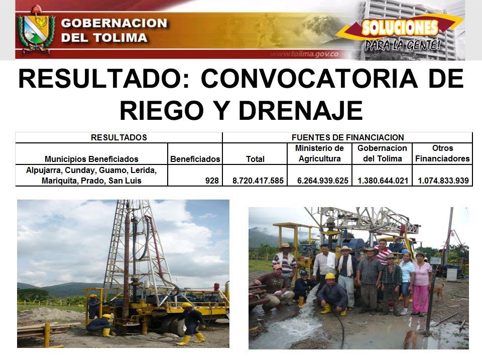 RESULTADO: CONVOCATORIA DE RIEGO Y DRENAJE