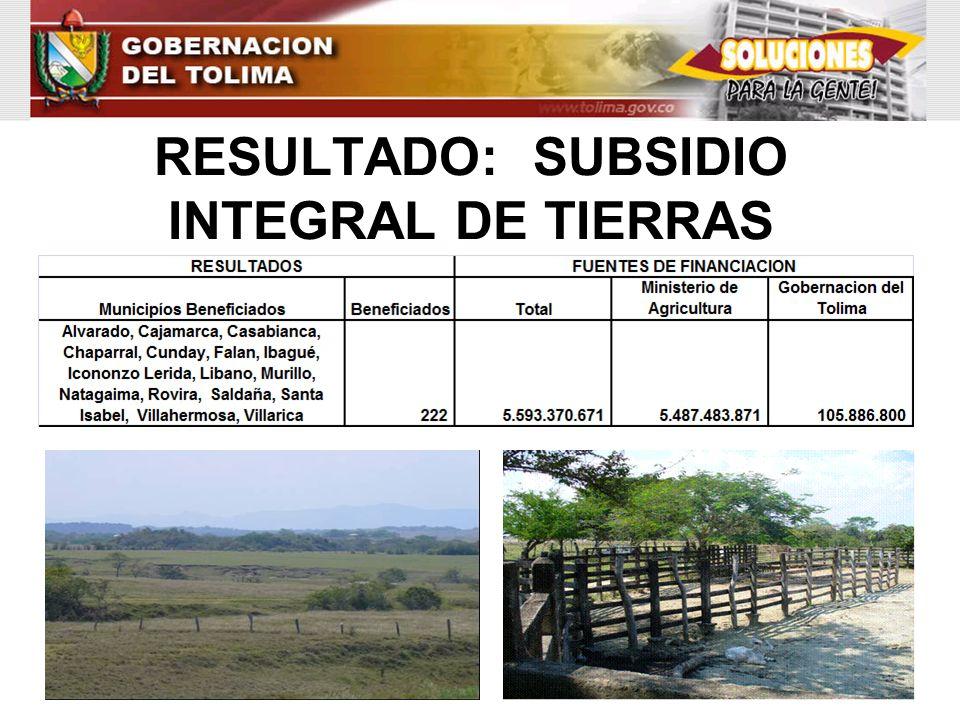 RESULTADO: SUBSIDIO INTEGRAL DE TIERRAS