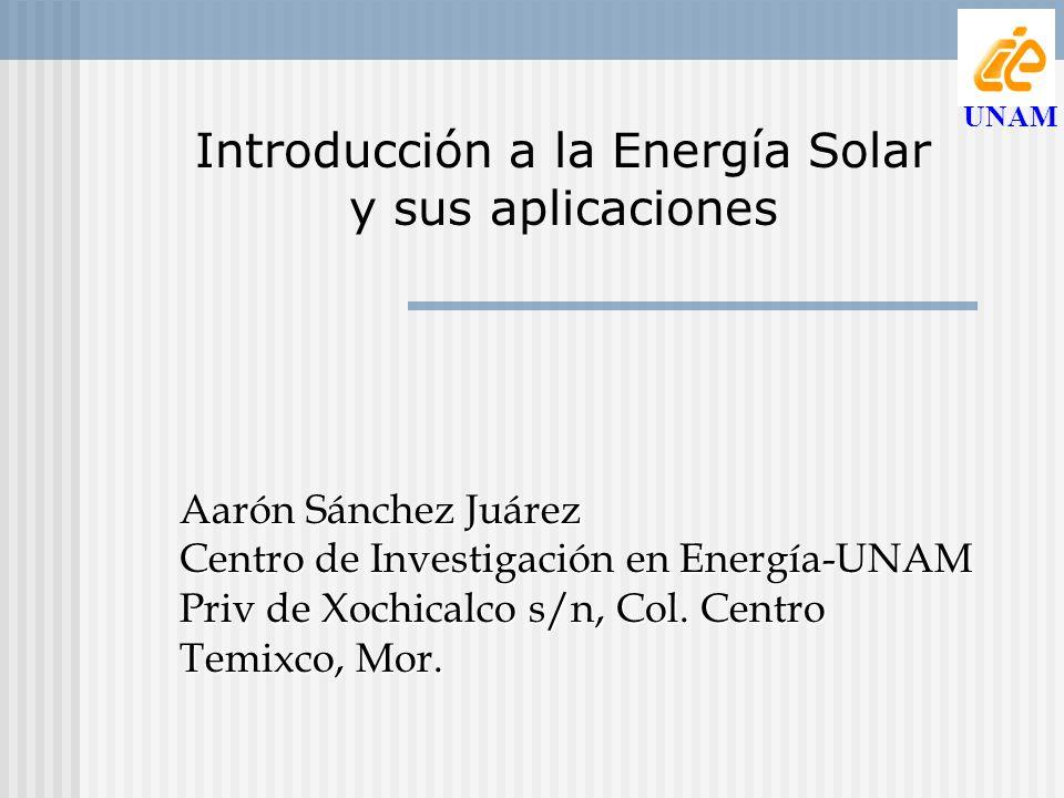 Introducción a la Energía Solar y sus aplicaciones Aarón Sánchez Juárez Centro de Investigación en Energía-UNAM Priv de Xochicalco s/n, Col. Centro Te